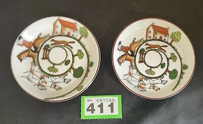 "Pair Of Coalport Staffordshire Bone China Hunting Scene Small Plates Butter 4"" • 20£"