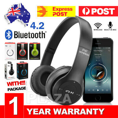 AU16.45 • Buy Noise Cancelling Wireless Headphones Bluetooth 4.2 Earphone Headset With Mic Hot