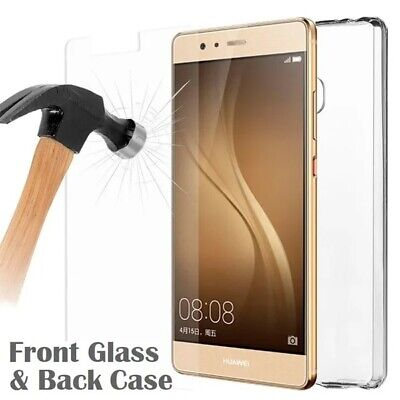 Clear Gel Case Cover /Front Tempered Glass Screen Protector For ALL HUAWEI MODEL • 2.99£