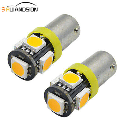 AU4.99 • Buy 2X BAX9S H6W Amber Yellow 5050 5 LED Side Indicator Light Bulb 12V Non-polarity
