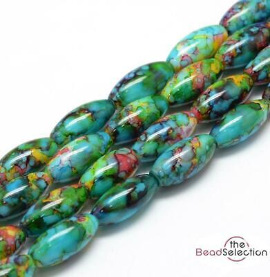 20 'WILD ORCHID' MARBLE DRAWBENCH OVAL GLASS BEADS 22mm HARLEQUIN GLS9 • 2.49£
