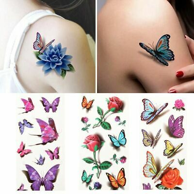 Temporary Tattoo Stickers Body Art 3D Waterproof Rose Flower Butterfly Halloween • 2.99£
