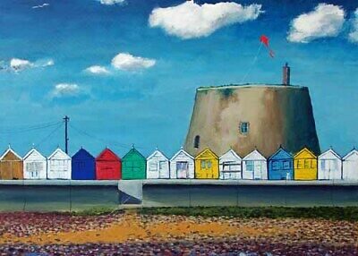 £5 • Buy Martello Tower And Beach Huts At Felixstowe Artist Doug Myers A5 PRINT 1388