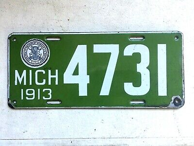 $ CDN1120.10 • Buy 1913 State Of Michigan 4 Digit Porcelain License Plate 4731