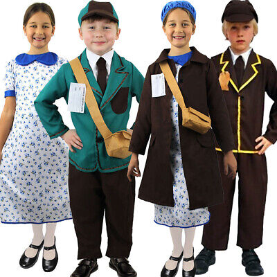 Child's 1920's Wartime School Girl Boy Fancy Dress Costume Book Day Outfit • 6.99£