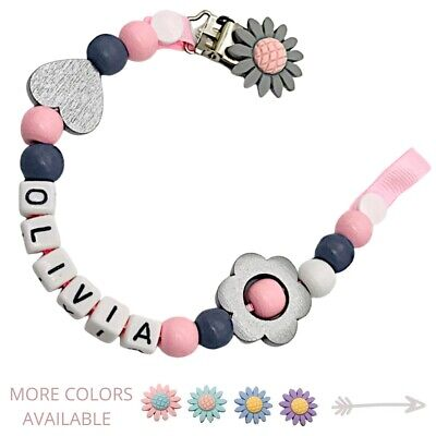 Dummy Clip Personalized Wooden Bead Pacifier Holder Soother Chain ~ Baby Girl • 7.90£