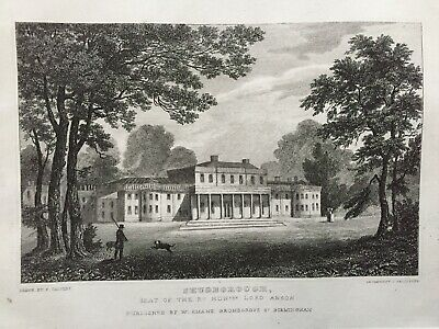 1830 Antique Print; Shugborough Hall, Cannock Chase, Staffordshire After Calvert • 14.99£