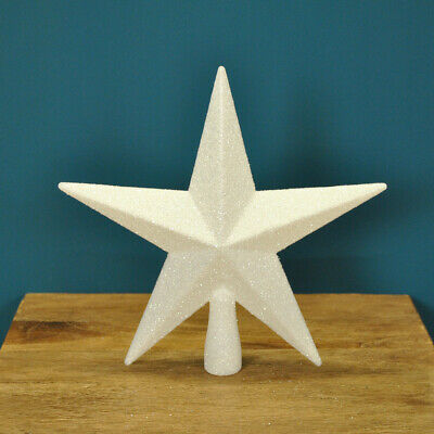Christmas Tree Topper White Glitter Star Xmas Decoration (20cm) By Premier • 6.99£