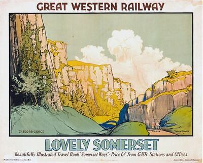£5.13 • Buy Vintage GWR Lovely Somerset Cheddar Gorge Railway Poster A3/A4