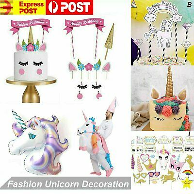 AU4.99 • Buy 1x Unicorn Birthday Cake Topper Foil Balloon Kids Girls Party Decoration Prop AU