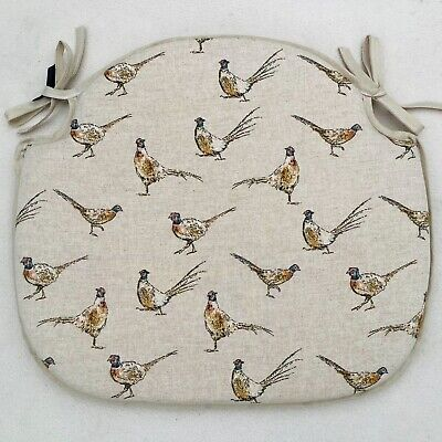 £15 • Buy Country Pheasant Print Spindle Back Chair Seat Pads 17.5  Wide X 15  Deep