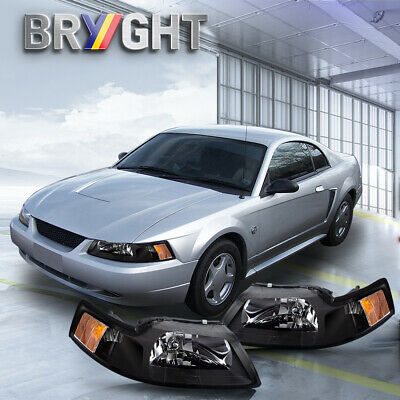 $72.99 • Buy For 99-04 Ford Mustang Black Housing Amber Corner Headlights Replacement Lamps
