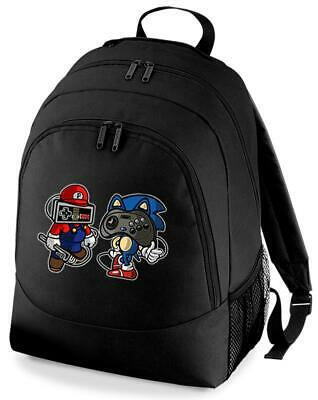 Mario Hedgehog Gaming Joypad Game Backpack Rucksack School Bag • 15.99£