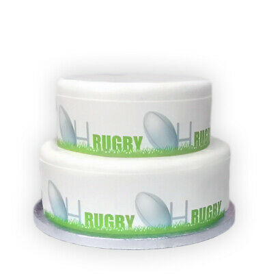 £2.99 • Buy A4 Edible Decor Icing Sheet RUGBY Players Sport Border Ribbon- Larger Cakes