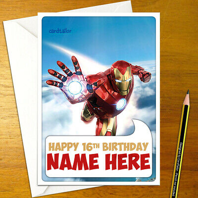 Ironman PERSONALISED BIRTHDAY CARD • Personalized Marvel Iron Man Avengers Stark • 3.65£