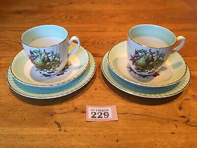 £15 • Buy VINTAGE Trio X 2  DELPHATIC CHINA, BARRATTS  WHITE/ MINT COLOURED PATTERN 1960S