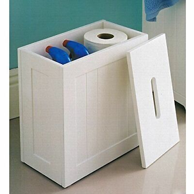 Wooden White Crisp Finish Small Toilet Cleaning Product Storage Tidy Box Unit • 20.78£