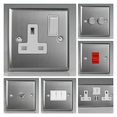 Varilight Classic Brushed Steel XTW Light Switch Socket Dimmer Toggle Cooker TV • 13.95£