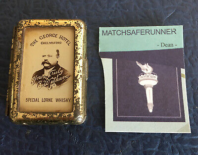 The George Hotel Chelmsford & Whisky Bryant & May's Tin Match Holder Vesta    • 54.99£