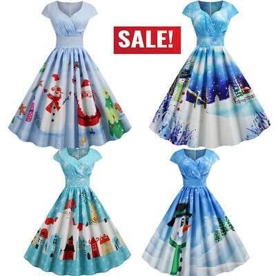 Women Vintage Short Sleeve Christmas 1950s Housewife Evening Party Prom Dress UK • 14.29£