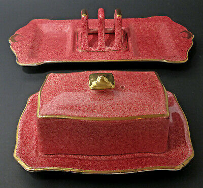 $ CDN95 • Buy VTG ROYAL WINTON GRIMWADES BUTTER DISH TOAST RACK & TRAY MOTTLED PINK GOLD 1940s