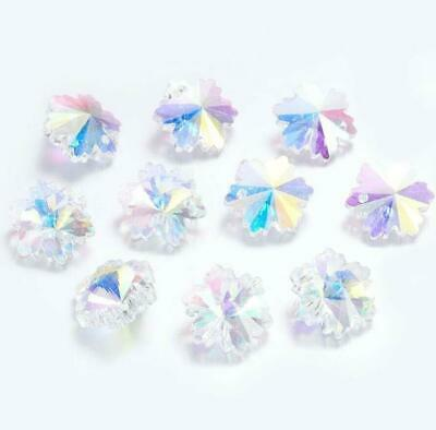 £2.59 • Buy 10 PENDANT SNOWFLAKE FACETED CRYSTAL GLASS BEADS 14mm XMAS RAINBOW AB GLS15