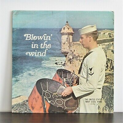 US NAVY STEEL BAND Blowin' In The Wind PRIVATE 60s LP FUNK FLUTE STEEL HEAR • 10£