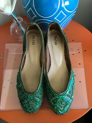$9.99 • Buy Green Sequin Flats Size 6.5