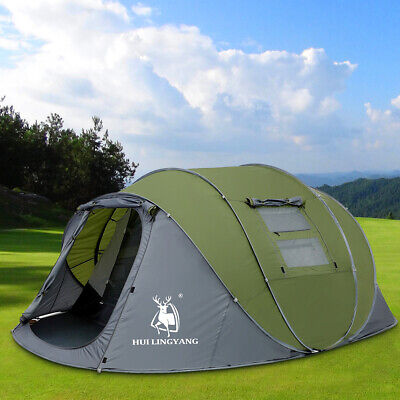 4-6 Person Pop Up Tent Double Layer Family Camping Tent Water Resistant Portable • 159.99£