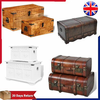 £70.19 • Buy Large Vintage Wooden Treasure Chest Storage Box Trunk Brown Case Antique Table