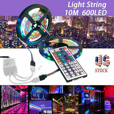 10M 3528 SMD RGB 600 LED Lighting Strips 44 Key Remote Controller For TV, Room • 11.67$
