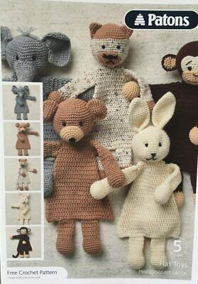 Patons 5 Flat Toys Crochet Pattern And Wool • 4£