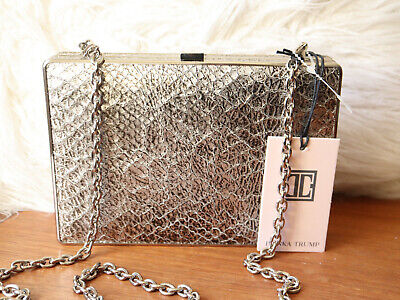 $ CDN109.61 • Buy New With Tags Ivanka Trump Pewter Metallic Leather Clutch Purse Retail $195.00