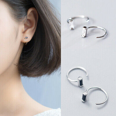 New Boho Festival Small Square Crystal 925 Silver Tone Half Hoop Earrings • 6.99£