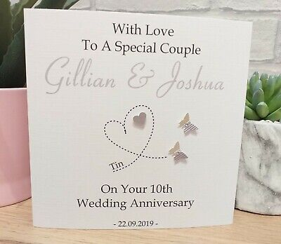 Personalised Tin 10th Wedding Anniversary Card Special Couple Wife Husband • 4£