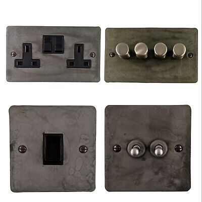 £29.95 • Buy Rustic Pewter Flat Plate FRPB Light Switches, Plug Sockets, Dimmers,Cooker, Fuse