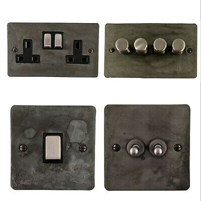 Rustic Pewter Flat Plate FRP3 Light Switches, Plug Sockets, Dimmers,Cooker, Fuse • 32.95£