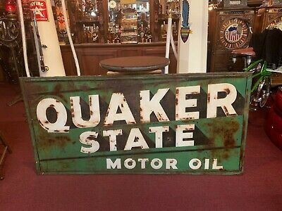 Vintage 6 Foot QUAKER STATE Embossed Tin Building Advertising Sign  Watch Video  • 1,295$