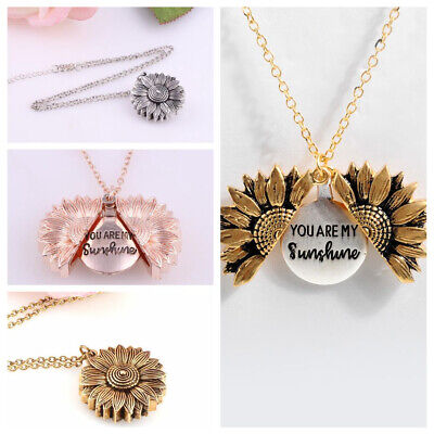 AU9.78 • Buy You Are My Sunshine Open Locket Sunflower Pendant Necklace For Women Men Jewelry