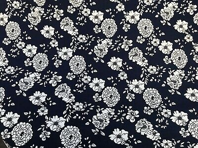 French Navy Floral Printed Cotton Viscose Jersey Dress Fabric 150 Cm • 5.99£