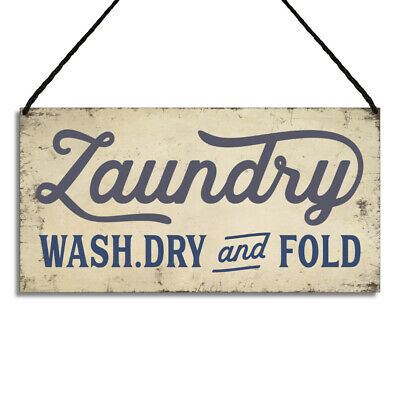 Laundry Room Signs Wash Dry And Fold Metal Quote Home Plaques GA065  • 6.49£