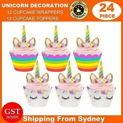 AU9.99 • Buy 24 Piece Unicorn Cupcake Toppers Wrappers Birthday Party Cake Bunting Lolly Au