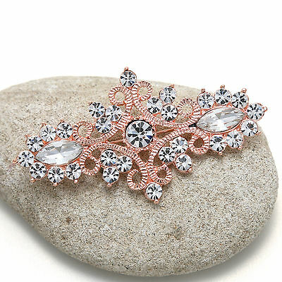 Wedding Dress Bridal Rose Gold Crystal Vintage Brooch Pin Jewellry  • 8.30£