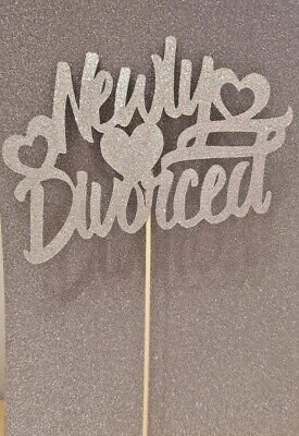 Newly Divorced Cake Topper Sparkle Glitter Celebrate Party Single Free Married • 3.50£