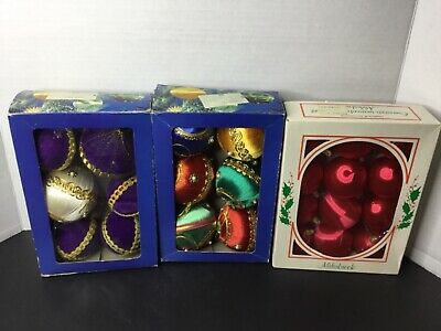 $ CDN25 • Buy Vtg Satin Balls Christmas Ornaments Sequin Bead Pins Jeweled Lot Unbreakable