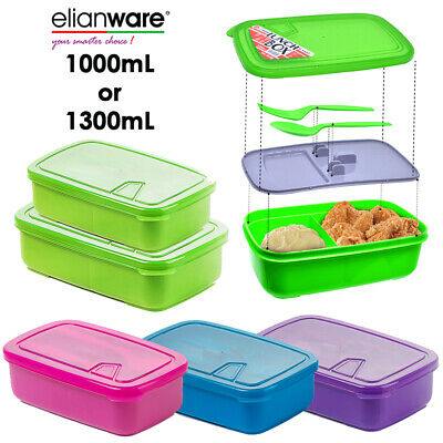 1L / 1.3L BPA Free Lunch Box Food Containers 2 Compartments + Fork Spoon • 5.99£