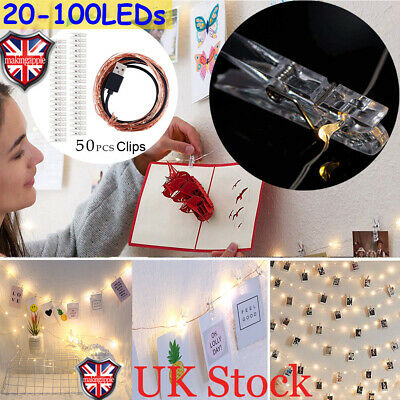 20-100 LED Hanging Card Picture Clips Photo Pegs Fairy String Lights Party Decor • 3.49£