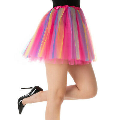 Rainbow Dance Luxury Pixie TUTU Petticoat Pink Ladies Halloween Fancy Dress UK • 3.99£