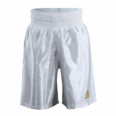 Adidas Satin Boxing Shorts White & Gold Amateur Pro Adults Mens • 22.99£