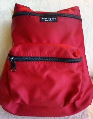 $ CDN67.89 • Buy Kate Spade Deep Red Padded Nylon Small Backpack Black Straps & Lining 10 By 12